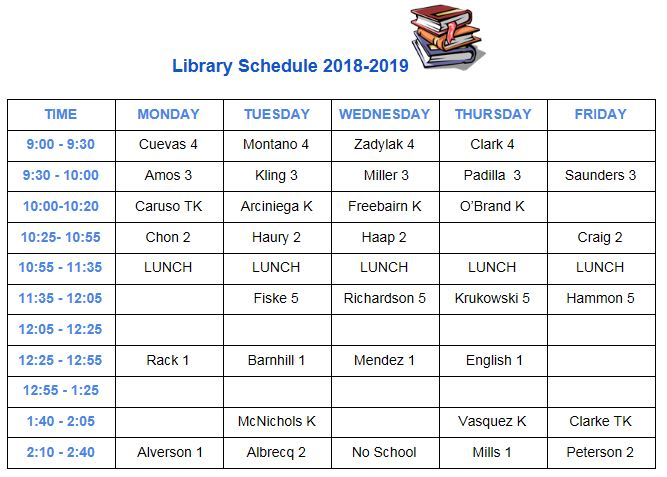 library schedule